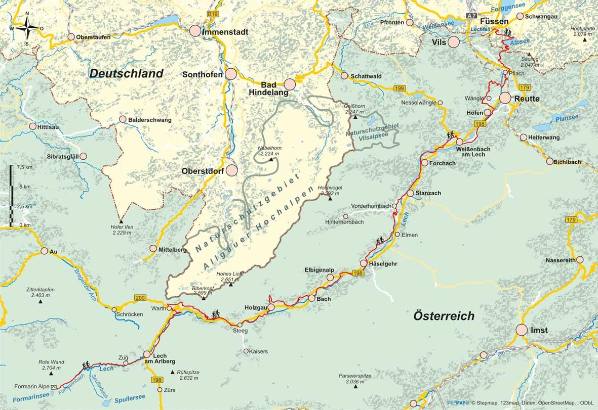 Lechweg Karte.Lechweg Höhen Und Fernwanderwege