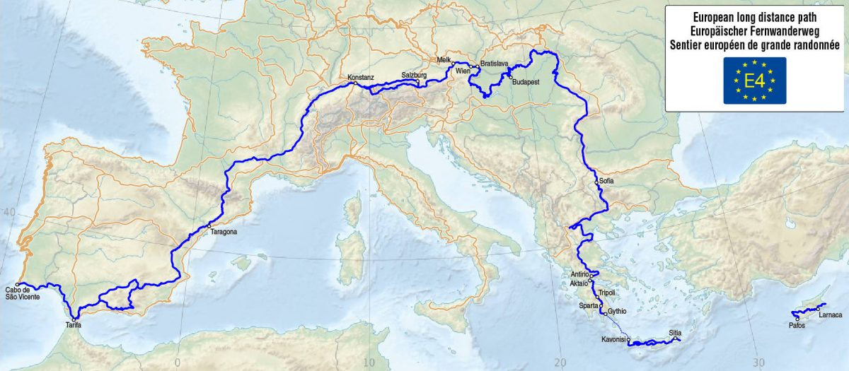 Map of the European Long Distance Path E4