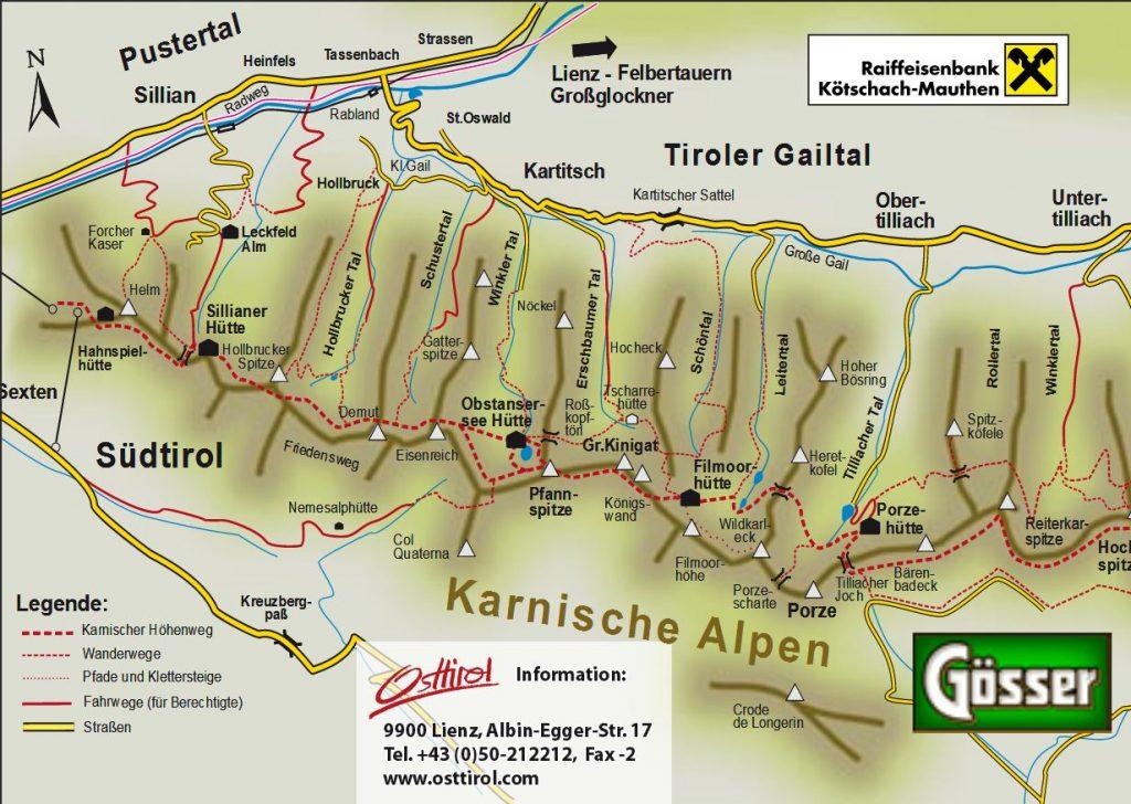 Karnischer Höhenweg - Uebersichtskarte