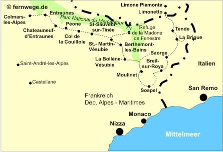Grande Randonnée GR 52A - Übersichtskarte