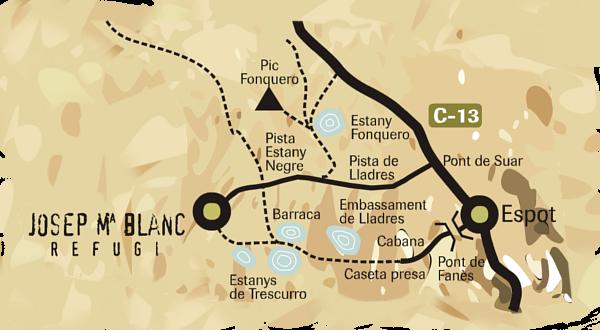 Zugang und Lage der Hütte